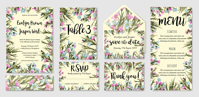 Ślubny zaproszenie ramy set; błękitni wosków kwiaty, liście, watercol ilustracji