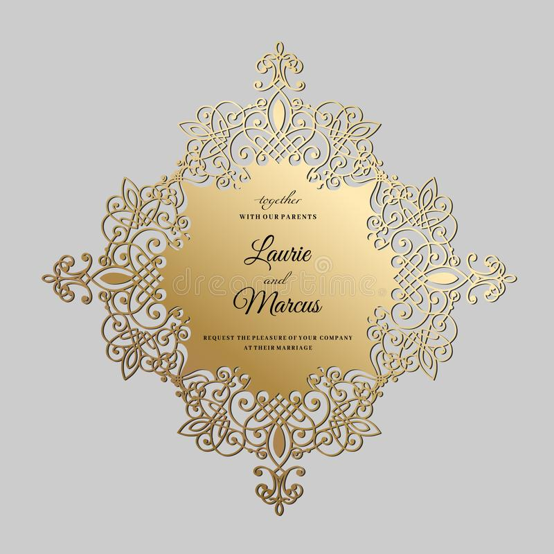 ślubny zaproszenie rocznik Szablon dla laserowego rozcięcia również zwrócić corel ilustracji wektora ilustracji