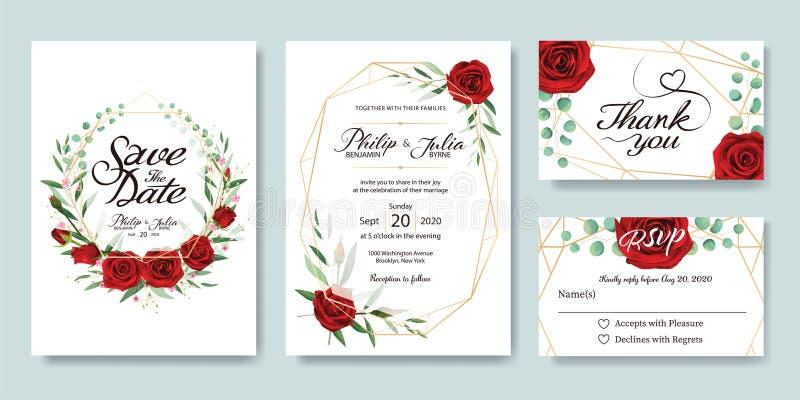 Ślubny zaproszenie, save datę, dziękuje ciebie, rsvp karcianego projekta szablon wektor Lato kwiat, czerwieni róża, srebny dolar, royalty ilustracja