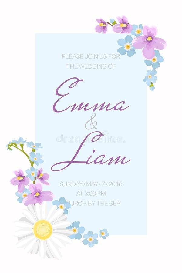 Ślubny zaproszenie szablon Błękit rama dekorująca z stokrotka rumianku niezapominajkową altówką kwitnie ilustracji