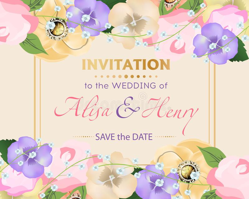 Ślubny zaproszenie szablon z pięknym kwiatu kartka z pozdrowieniami wektor ilustracji