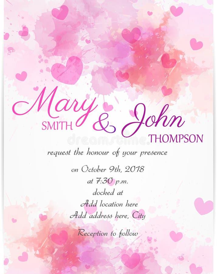 Ślubny zaproszenie szablon z różowymi sercami royalty ilustracja