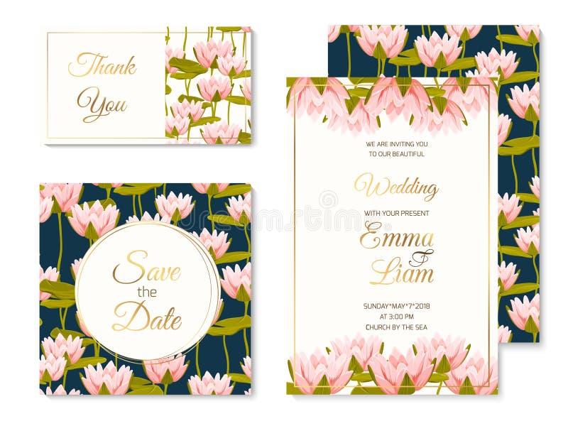 Ślubny zaproszenie szablonu setu wody kwiat lilly ilustracja wektor