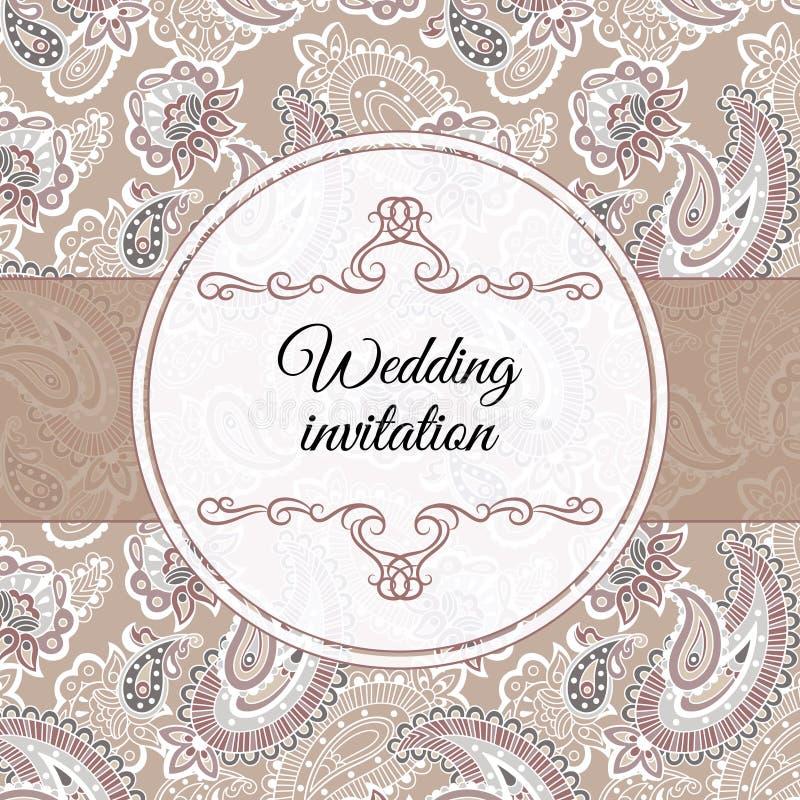 Ślubny zaproszenie w beżu stylu ilustracji