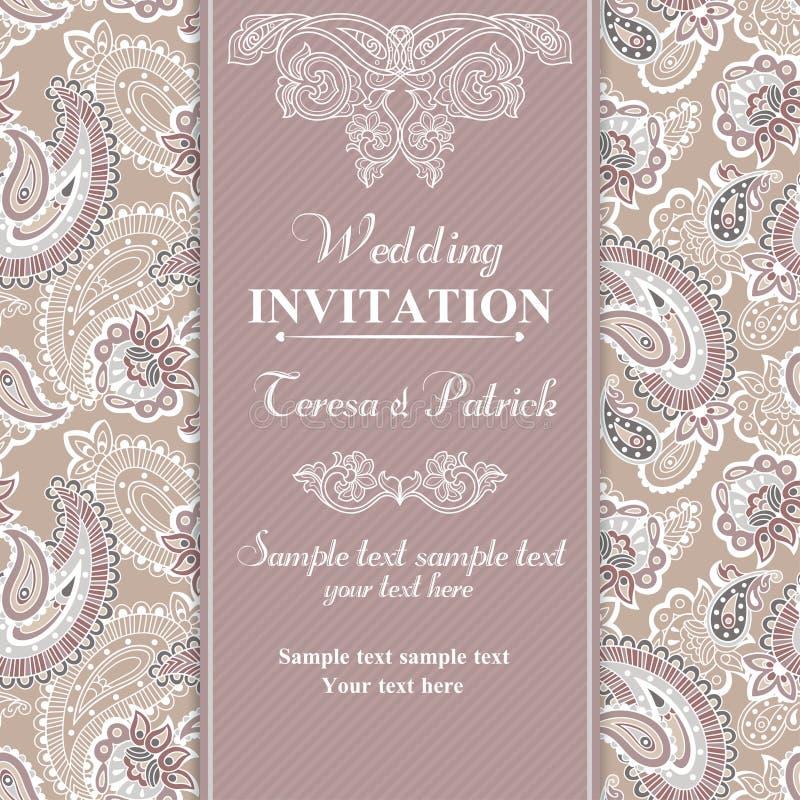 Ślubny zaproszenie w beżu stylu ilustracja wektor