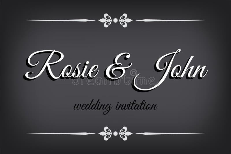 Ślubny zaproszenie w filmu niemego stylu Retro granica na monochromatic tle royalty ilustracja