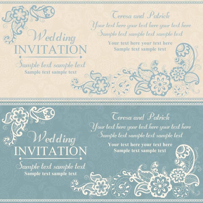 Ślubny zaproszenie w wschodnim tureckim stylu, błękitnym ilustracja wektor
