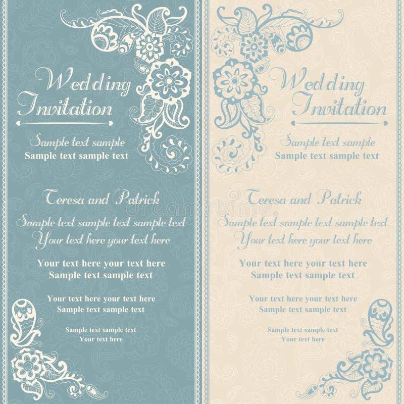 Ślubny zaproszenie w wschodnim tureckim stylu, błękitnym royalty ilustracja