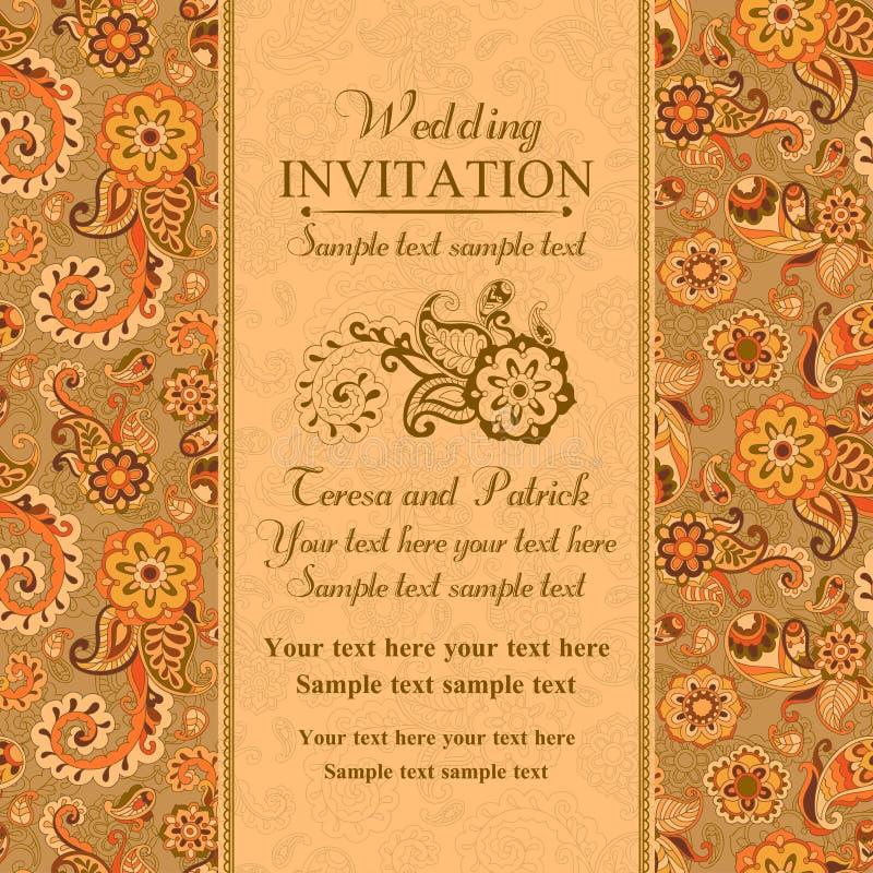 Ślubny zaproszenie w wschodnim tureckim stylu, pomarańcze royalty ilustracja