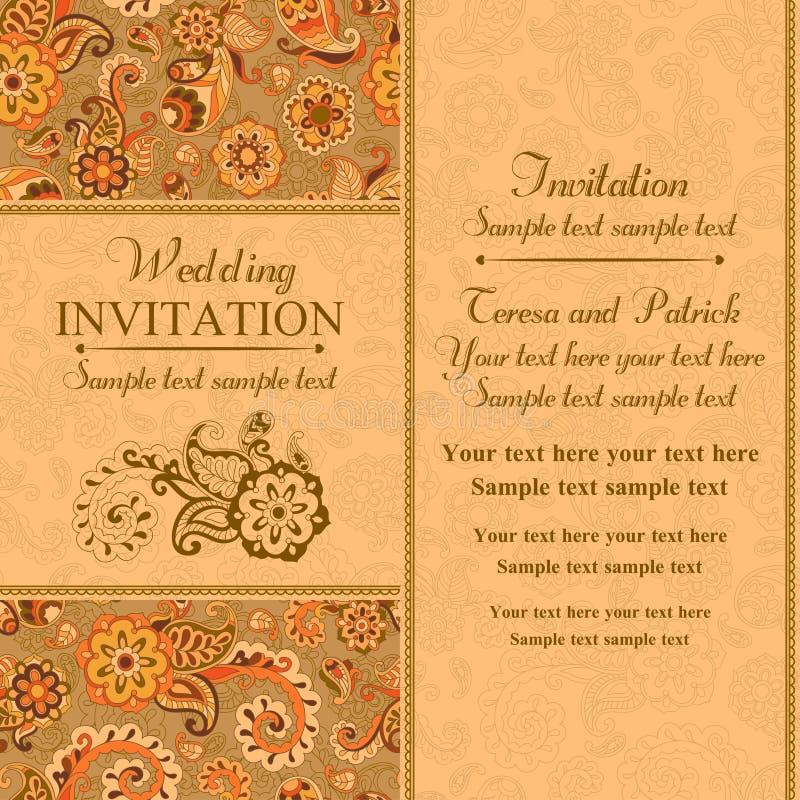 Ślubny zaproszenie w wschodnim tureckim stylu, pomarańcze ilustracja wektor