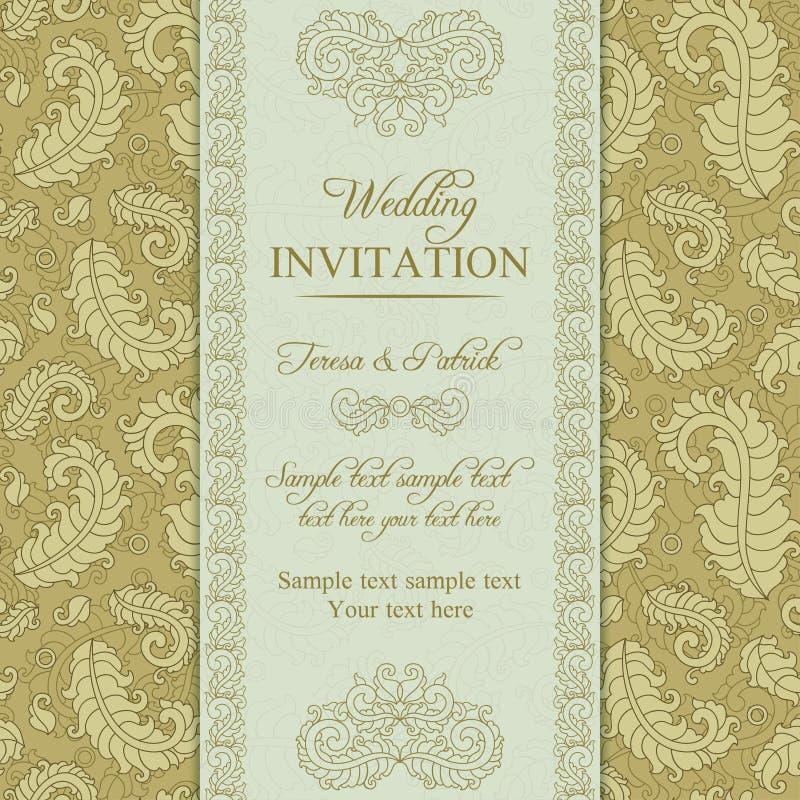 Ślubny zaproszenie w złocie i beżu stylu ilustracja wektor