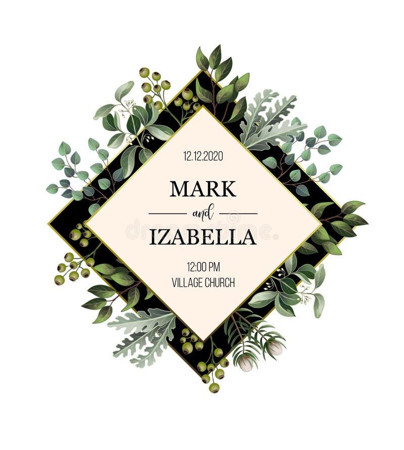 Ślubny zaproszenie z liści, tłustoszowatych i złotych elementami w akwareli, projektuje Eukaliptus, magnolia, paproć i inny, royalty ilustracja