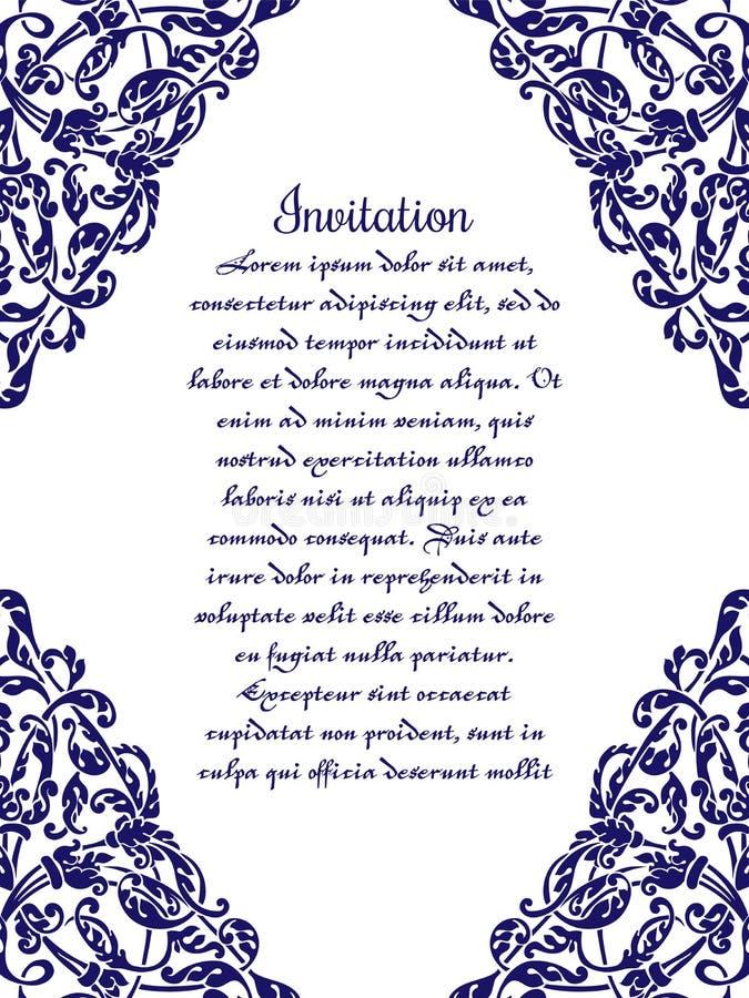 Ślubny zaproszenie z w zawiły sposób ornamentem ilustracja wektor