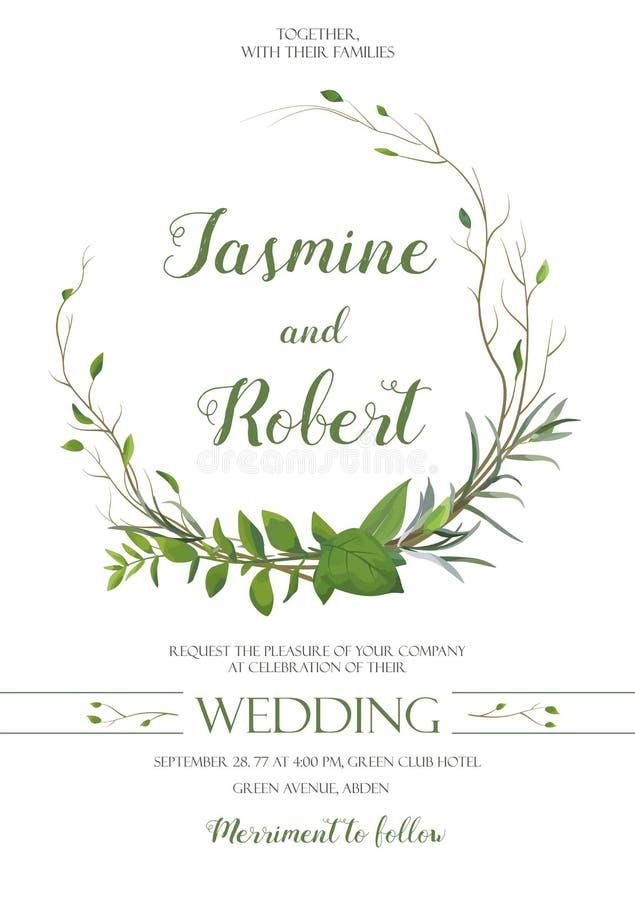 Ślubny zaproszenie, zaprasza karcianego wianku projekt z wierzbowym Eukaliptusowym drzewem, zielonego liścia rośliny zielarskie g royalty ilustracja