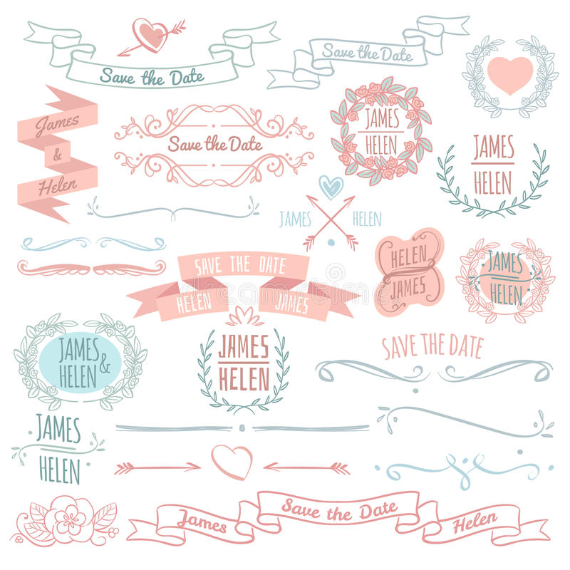 Ślubnych kwiecistych dekoracja elementów wektorowa kolekcja z ramami, sztandarami i monogramami ręki rysującymi wianku, ilustracja wektor