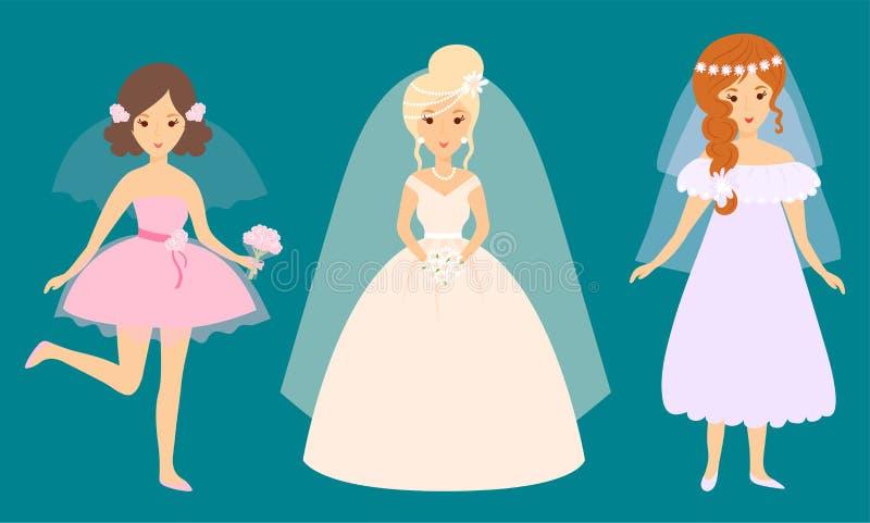 Ślubnych panna młoda charakterów świętowania małżeństwa mody wektorowa ilustracyjna kobieta ilustracji