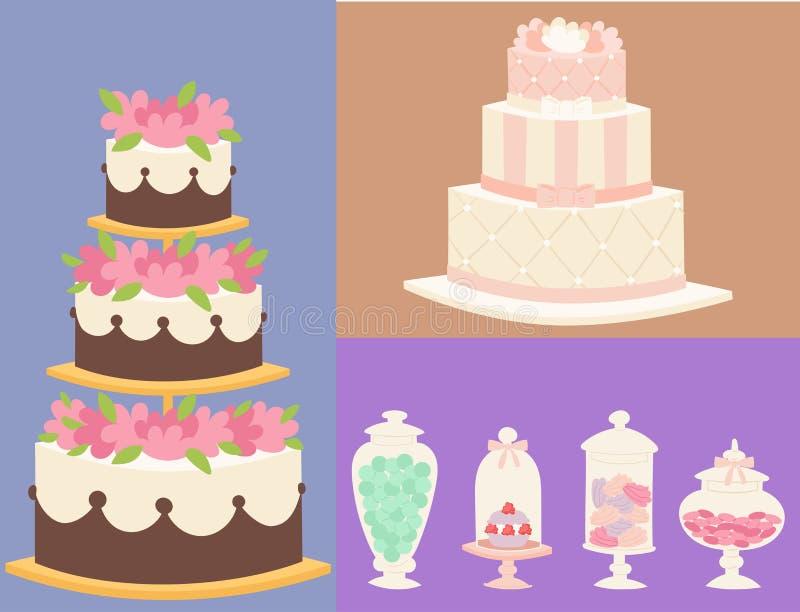 Ślubnych tortów ciasta kulebiaka świeżej smakowitej deserowej słodkiej karty piekarni tarta wyśmienity domowej roboty wyśmienicie royalty ilustracja