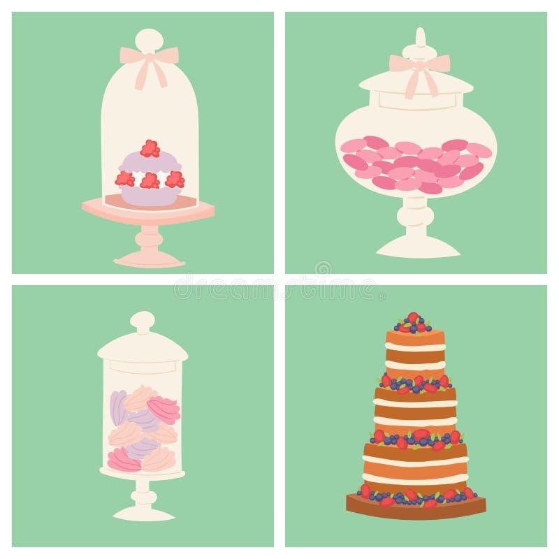 Ślubnych tortów ciasta kulebiaka świeżej smakowitej deserowej słodkiej karty piekarni wyśmienity domowej roboty wyśmienicie kremo royalty ilustracja