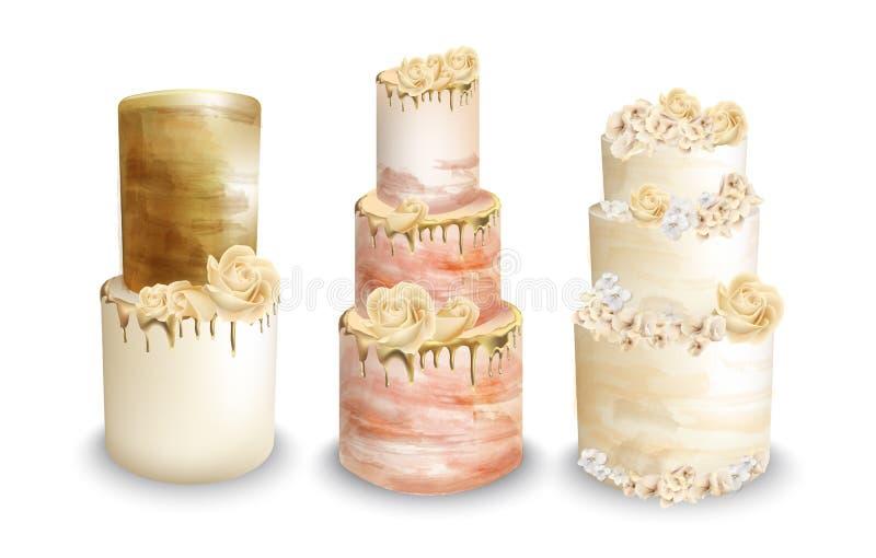 Ślubnych tortów wektoru akwarela Roczników tortów wyśmienicie sety royalty ilustracja