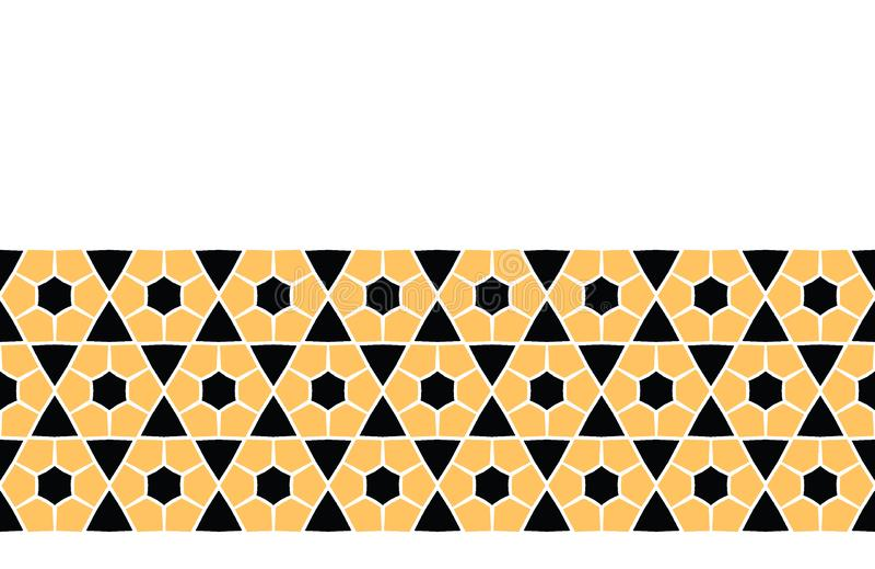 Śmiała ręka rysujący sześciokąt kołderki geo Wektor granicy wzoru bezszwowy tło Symetrii geometryczna abstrakcjonistyczna ilustra ilustracji