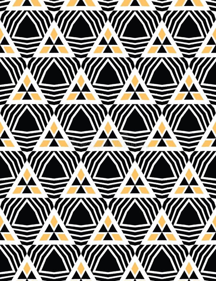 Śmiała ręka rysujący trójboka geo Wektoru deseniowy bezszwowy t?o Symetrii geometryczna abstrakcjonistyczna ilustracja Modni retr ilustracja wektor