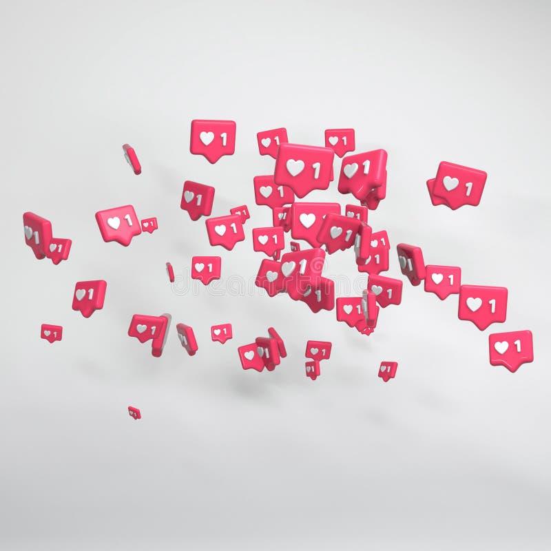 Śmiałe menchie 3d odpłacają się Błyszczący glansowany plastikowy spojrzenie Biały tło z cieniami Obrachunkowy przyrost, ludzie in ilustracja wektor