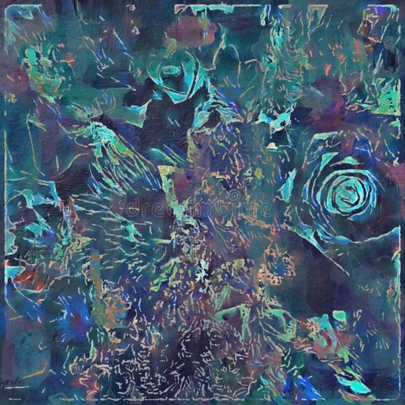 Śmiały abstrakcjonistyczny kwiecisty malujący projekt w błękicie i zieleni fotografia royalty free