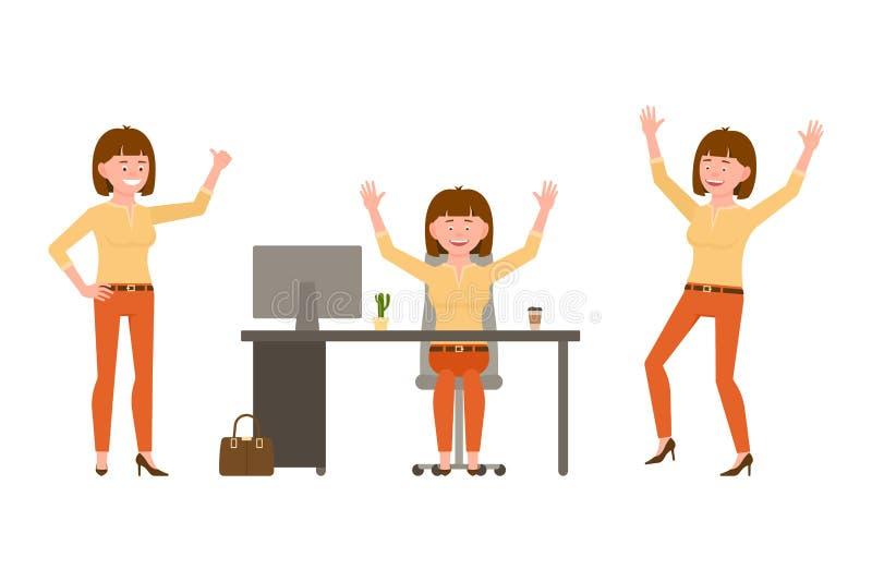 Śmiający się, szczęśliwego, śmiesznego brązu włosiany młody biurowy żeński wektor, Mieć zabawę, doskakiwanie, siedzi przy biurko  ilustracji