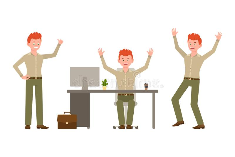 Śmiający się, szczęśliwy, śmieszny czerwony włosiany młody urzędnik w zieleni, dyszy wektorową ilustrację royalty ilustracja