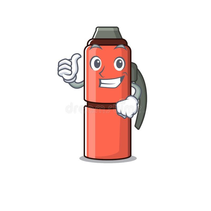 Śmiech maskotka z termos butelka Przewiń wykonując gest kciuka w górę ilustracji