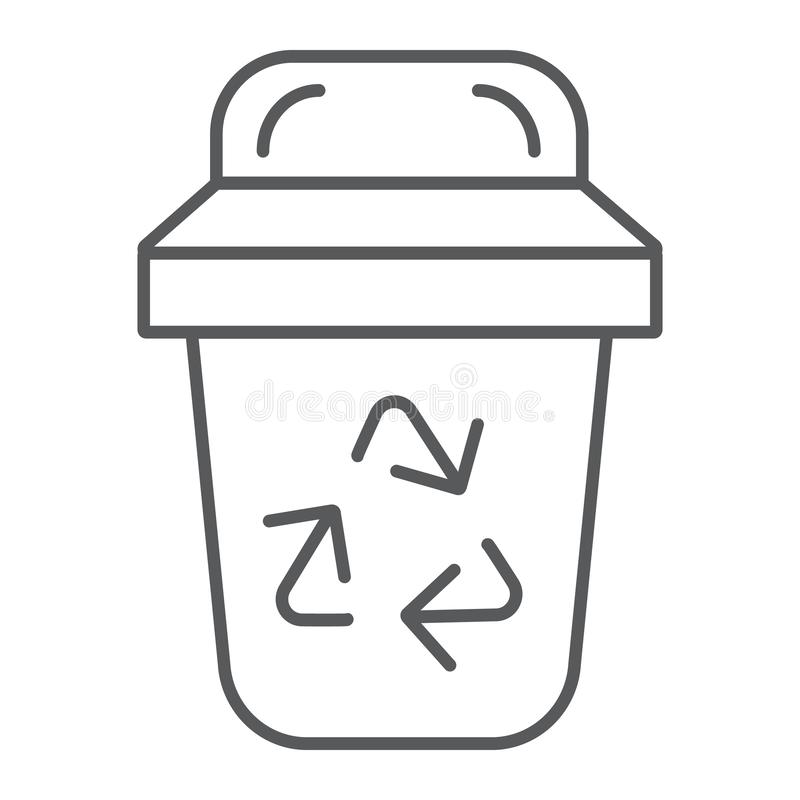 Śmieci cienka kreskowa ikona, ekologia i grat, kosza znak, wektorowe grafika, liniowy wzór na białym tle ilustracji