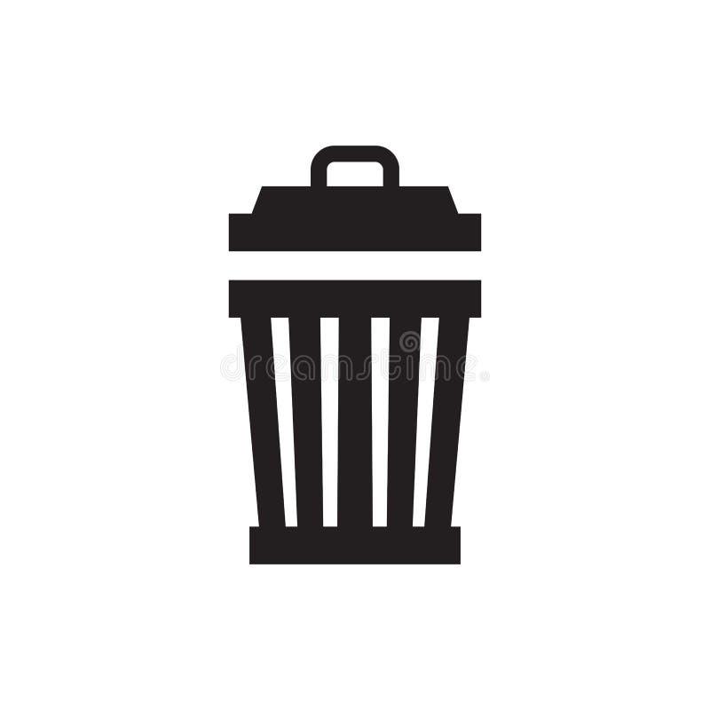 Śmieci - czarna ikona na białej tło wektoru ilustracji Grata pojęcia znak Jałowy Kosz Deleatur kreatywnie symbol grafika ilustracji