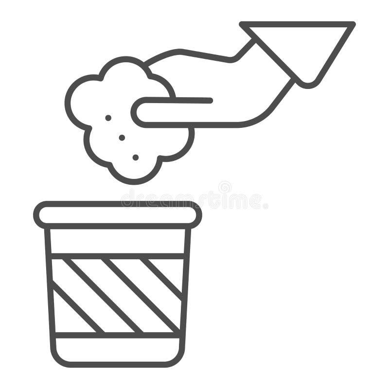 Śmieci i ręki cienka kreskowa ikona Wręcza wektorową ilustrację odizolowywającą na bielu i niszczy Rzucać jałowego kontu ilustracji