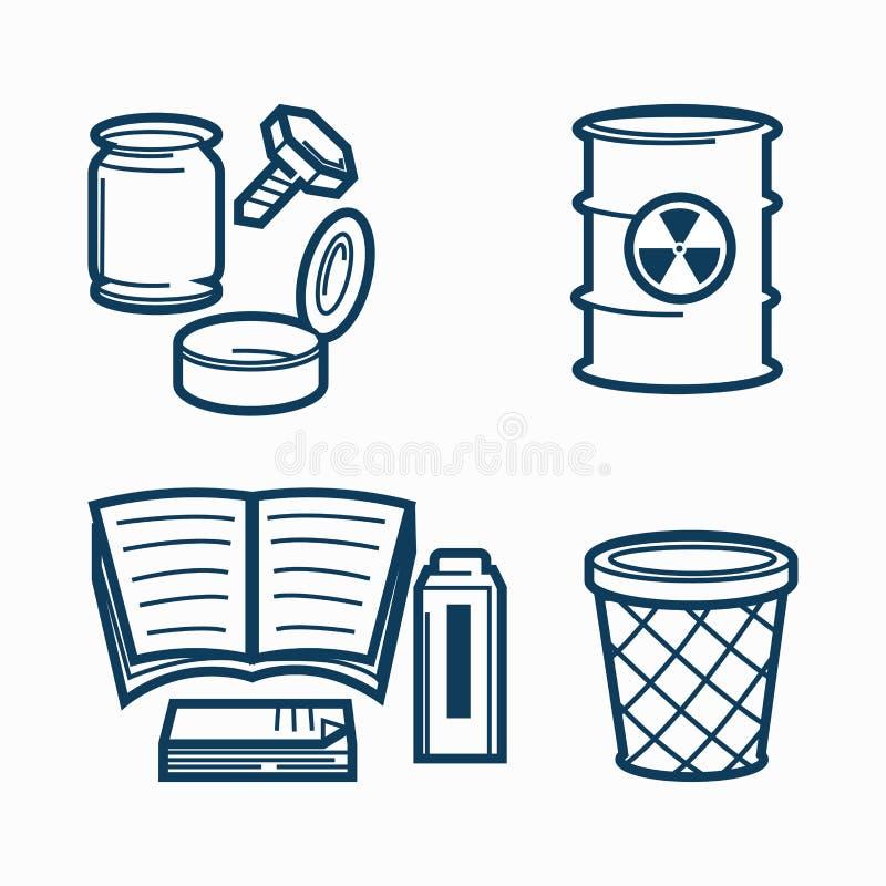 Śmieci kilka biurowy kosz na śmieci i rodzaje ilustracji