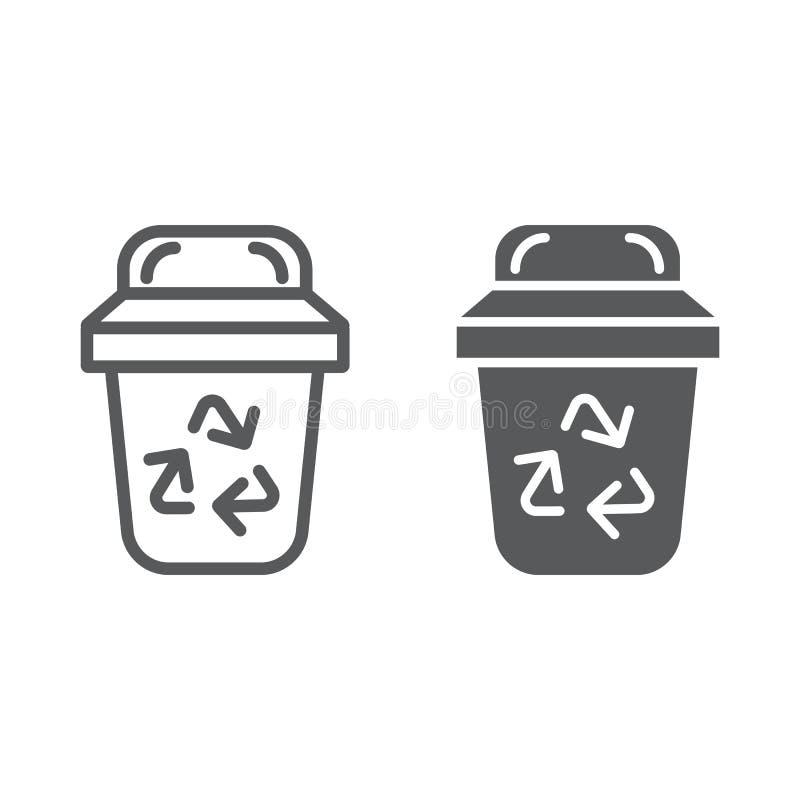 Śmieci linia, glif ikona, ekologia i grat, kosza znak, wektorowe grafika, liniowy wzór na białym tle ilustracja wektor