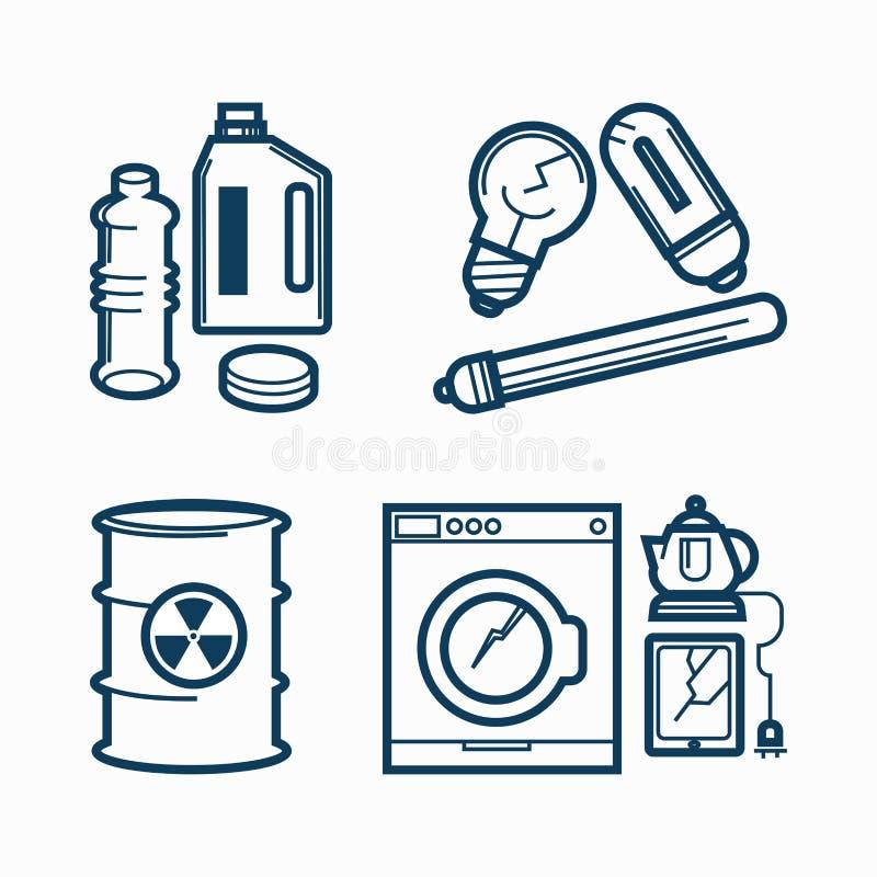 Śmieci marnotrawi grat kreskowe wektorowe ikony ustawiać substancja toksyczna, elektroniczny klingeryt i metal przetwarza śmieci, ilustracja wektor