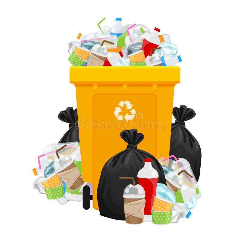 Śmieci odpady, torba kolor żółty i klingeryt i przetwarzamy kosz odizolowywającego na bielu, stos plastikowy śmieci odpady dużo,  ilustracja wektor