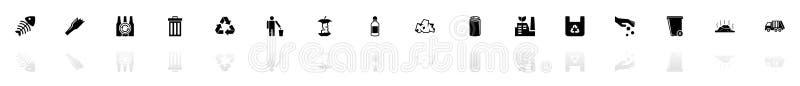 Śmieci - Płaskie Wektorowe ikony ilustracja wektor