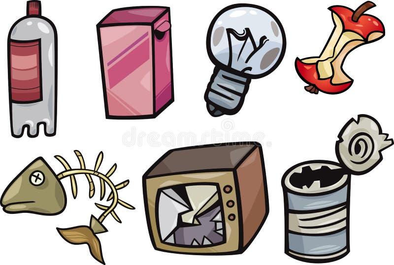 Śmieci protestuje kreskówki ilustraci set ilustracja wektor