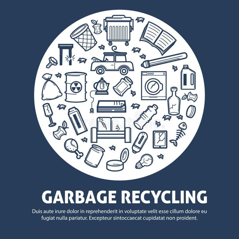 Śmieci przetwarza dla ekologii ochrony promo agitative plakata ilustracji