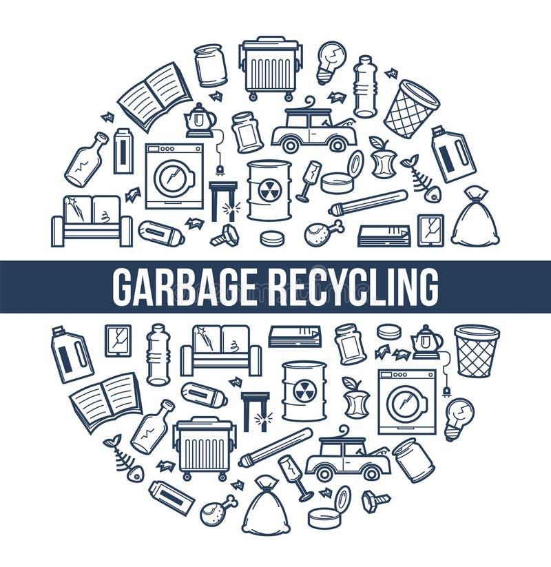 Śmieci przetwarza ekologii i środowiska grata wektor ilustracja wektor