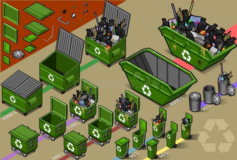 śmieci zbiornika śmieci ilustracji