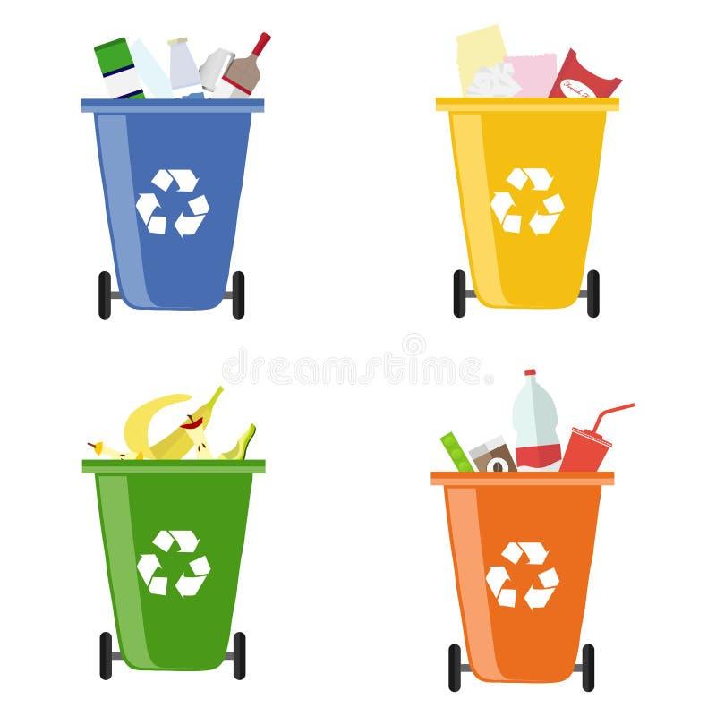 Śmieciarscy kosze Zbiorniki dla różnego śmieci Oddzielna kolekcja śmieci royalty ilustracja