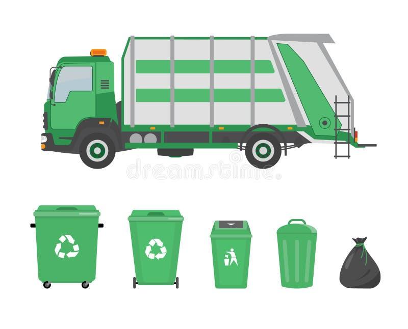 Śmieciarska ciężarówka i pojemnik na śmiecie na białym tle ilustracji