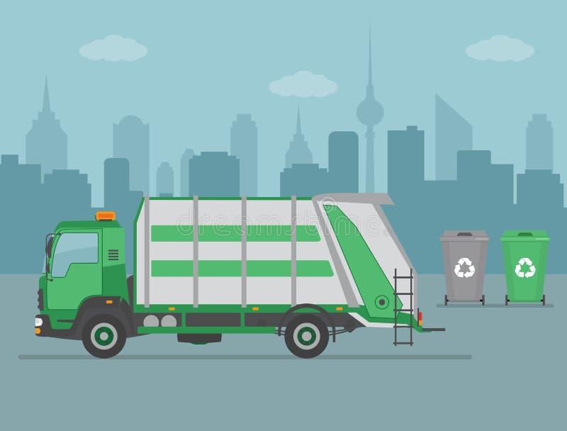 Śmieciarska ciężarówka i pojemnik na śmiecie na miasta tle royalty ilustracja