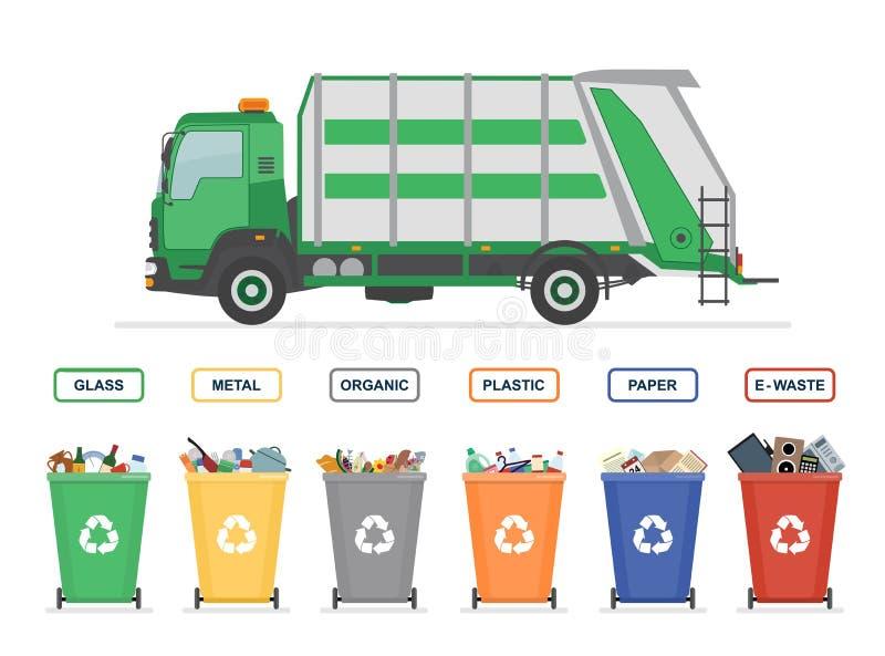 Śmieciarska ciężarówka i pojemnik na śmiecie odizolowywający na białym tle ilustracji