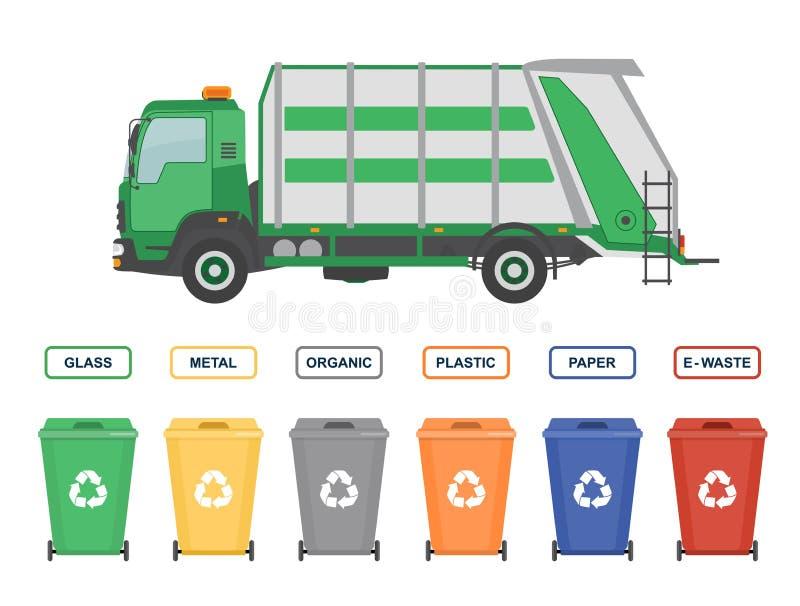 Śmieciarska ciężarówka i pojemnik na śmiecie odizolowywający na białym tle royalty ilustracja