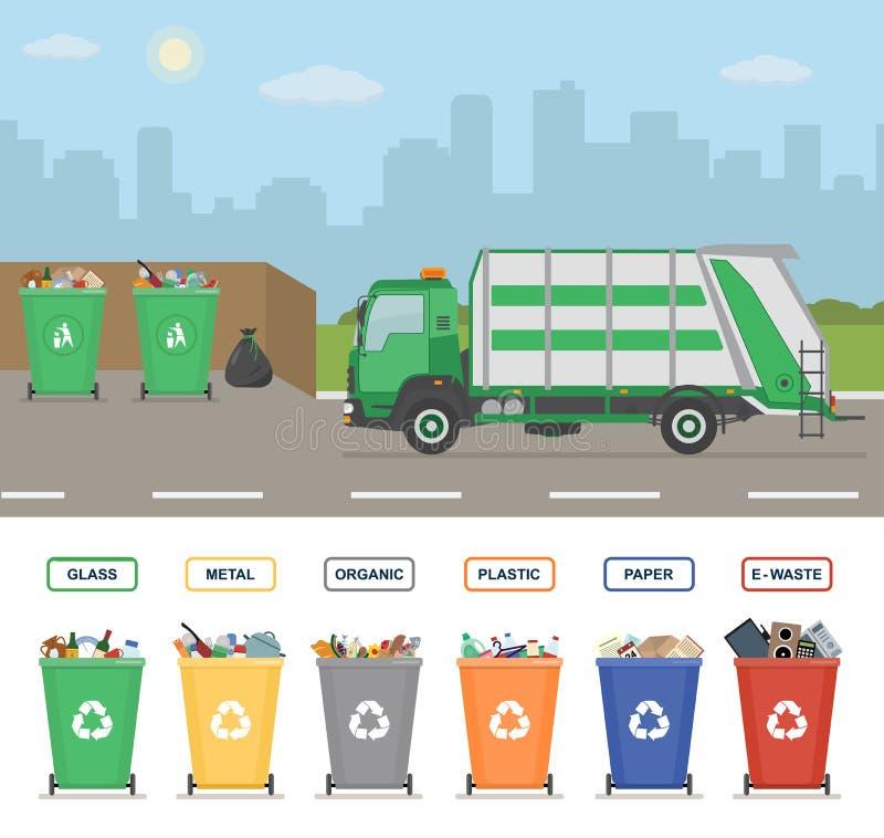 Śmieciarska ciężarówka na ulicie w miasteczku Pojemnik na śmiecie odizolowywający na białym tle ilustracja wektor