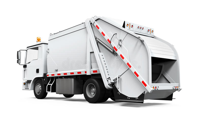 Śmieciarska ciężarówka Odizolowywająca ilustracja wektor