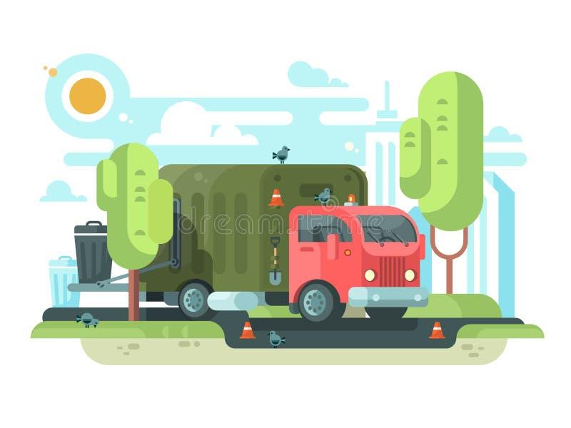 Śmieciarska ciężarówka zbiera śmieci w parku ilustracja wektor